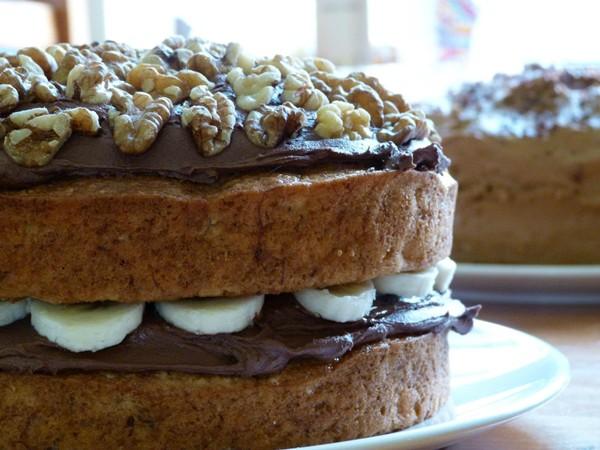 Chocolate banana layer cake