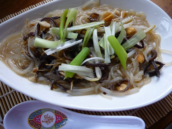 Sweet Potato Vermicelli with Chinese Mushrooms in Miso