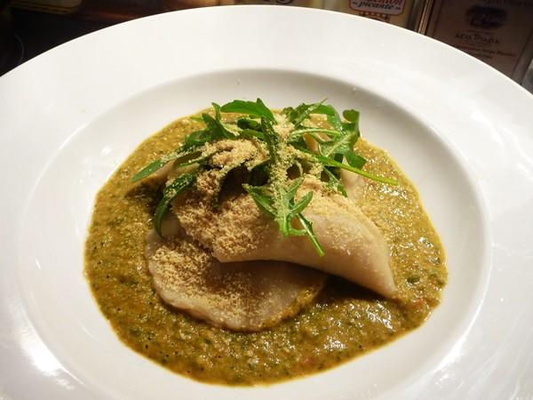 Walnut Ravioli in Creamed Spinach Sauce with Vegan Parmesan