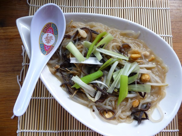 Sweet Potato Vermicelli with Enoki in Miso Soup