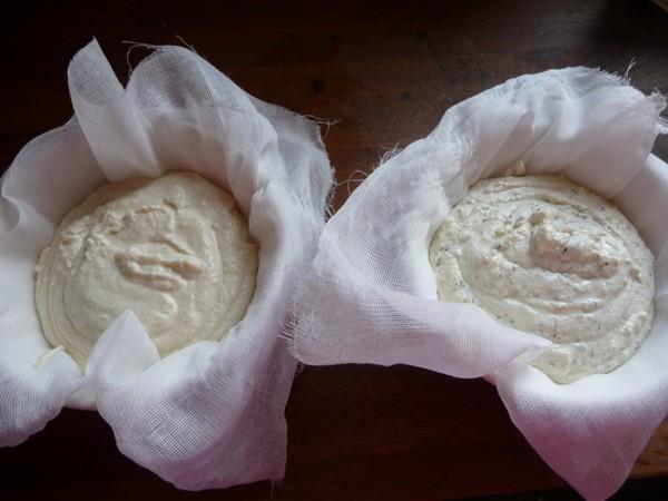 Preparing the almond feta in cheesecloth