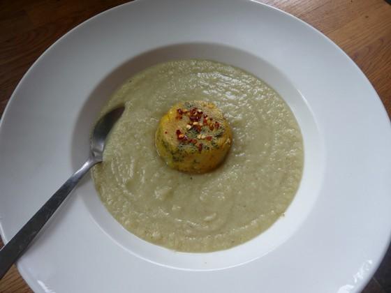 Polenta cakes in soup