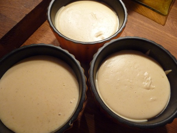 Setting the cashew cheese into moulds