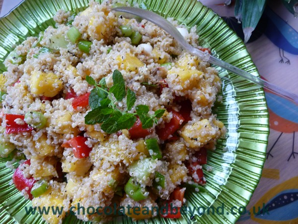 Vegan Gingery Pineapple & Melon Quinoa Salad