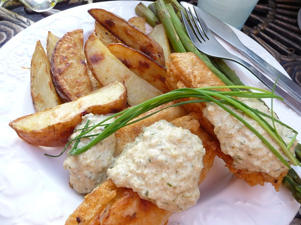 Vegan Beer Battered Tofu with Tartare Sauce and Fries