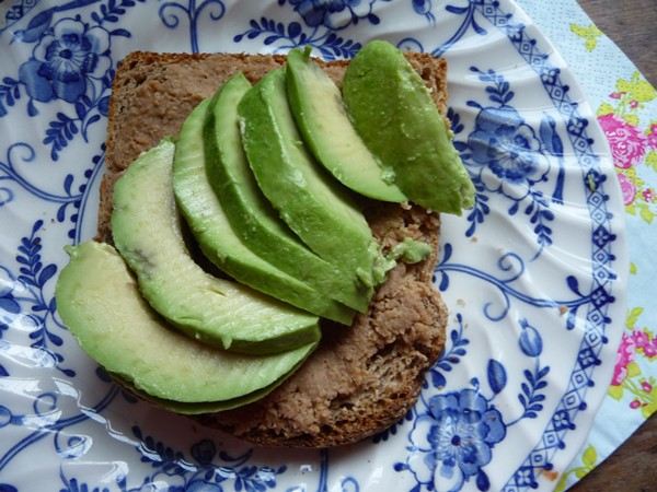 Vegan tuna pate and avocado on toast