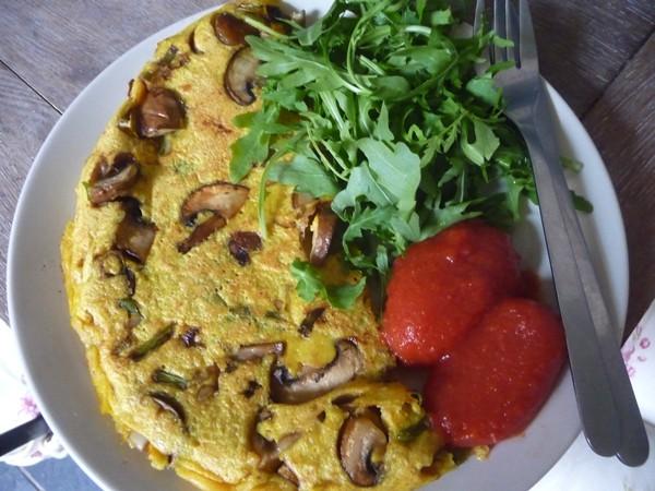 Mushroom, Spring Onion & Chilli Besan Omelette