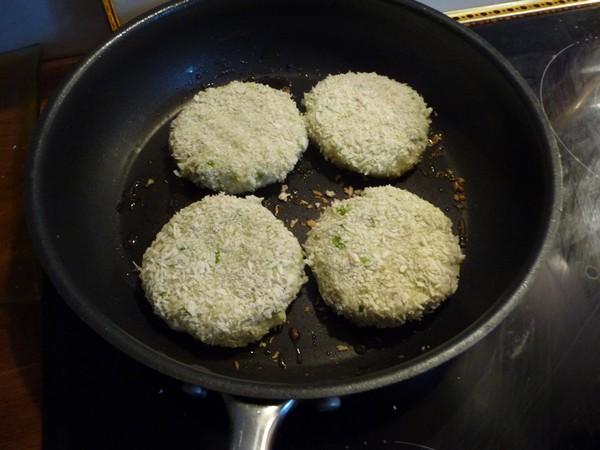 Frying the vegan fishcakes