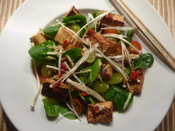 Spicy & Sweet Sesame-Fried Tofu & Baby Spinach Salad