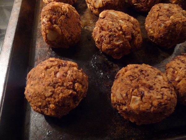 Aduki Beanballs out of the oven