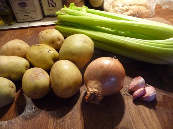 Ingredients for vegan Creamy Celery Soup