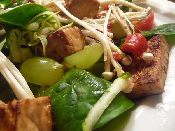 Sesame-Fried Tofu & Baby Spinach Salad with Chilli