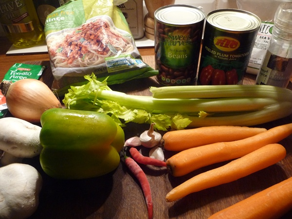 Ingredients for veggie chilli
