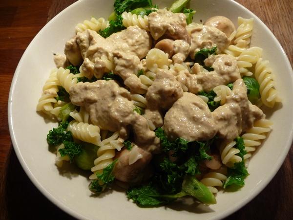 Pimento Olive Pasta & Kale