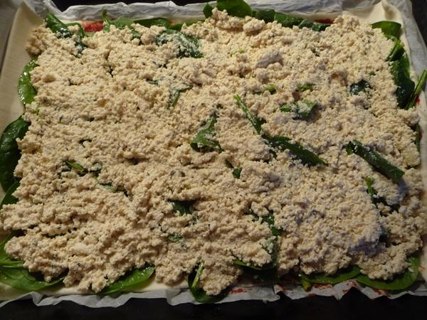 Adding the tofu ricotta layer