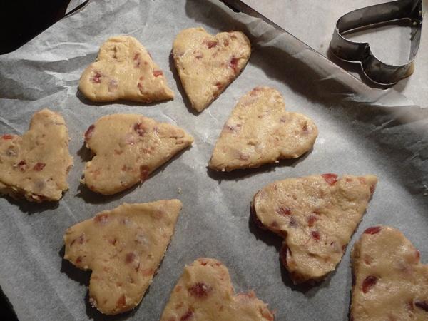 Pre-baked vegan shortbread hearts