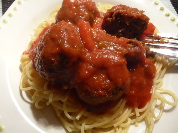 Baked Aduki Beanballs with Spaghetti & Sauce