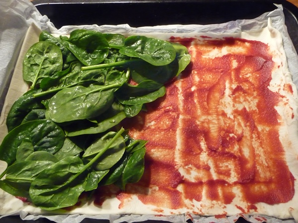 Layering the spinach