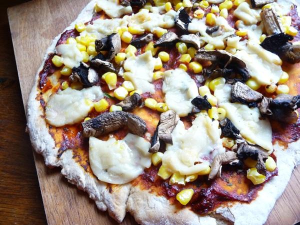 rustic vegan pizza with no yeast dough budget recipe 60p per half