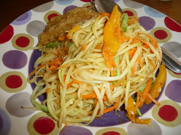 Green papaya salad at Pooh's Kitchen